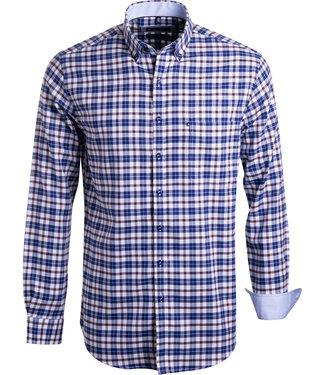 FORMEN bruin en blauw geruit hemd