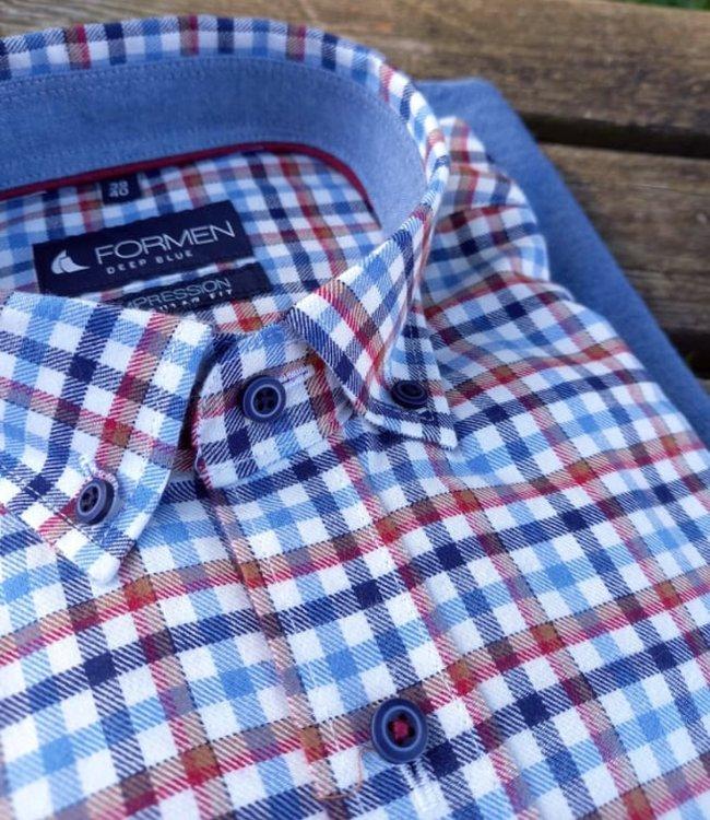 FORMEN flanel hemd met vichy ruiten