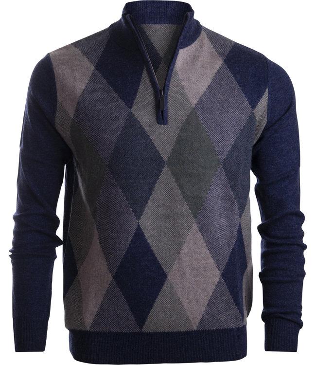 FORMEN Argyle trui met korte zip