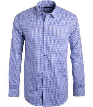 FORMEN stijlvol blauw geruit hemd