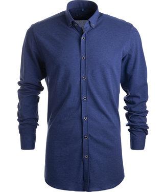 FORMEN jeansblauw tricot hemd - SLIM