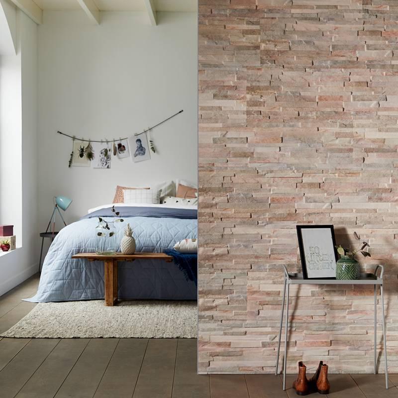 Wandtegels of steenstrips voor aan de slaapkamermuur - style4walls
