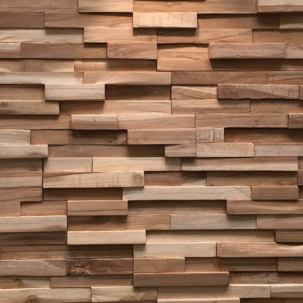 Holzverblender UltraWood Teak Firenze 3D Wood Panel