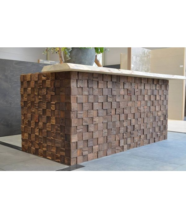 Rebel of Styles Houtstrip 3D Woodpanel Cubes Charred