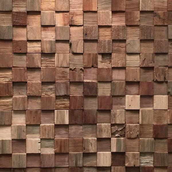 Plaquette de Parement bois recyclé UltraWood Teak Square