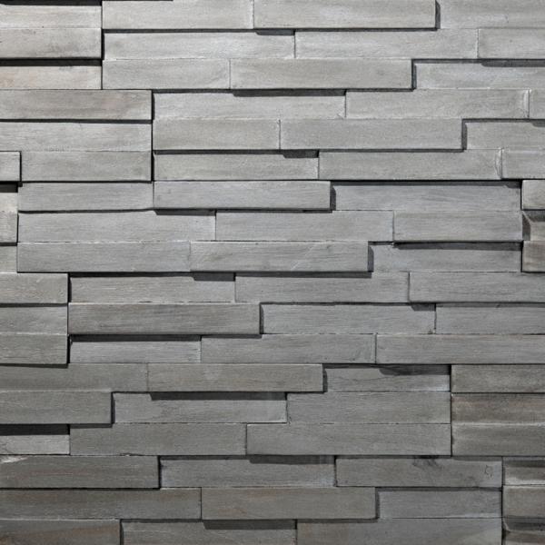 Plaquette de parement bois recyclé UltraWood Yakisugi  Argent
