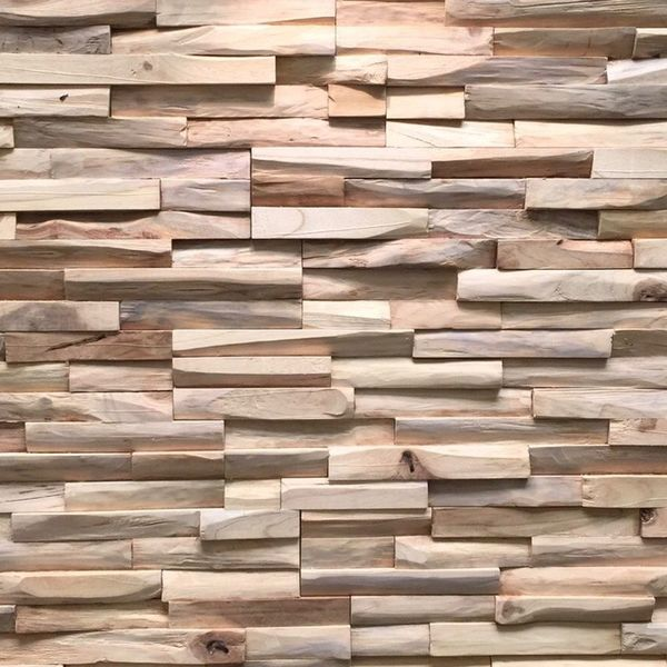 Holzverblender UltraWood Teak Benevento 3D Wood Panel