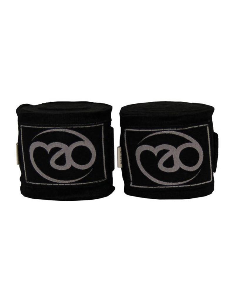 FITNESS MAD 3.5m Stretch Cotton bandages Handwraps katoen met velcro sluiting en duimlus Zwart