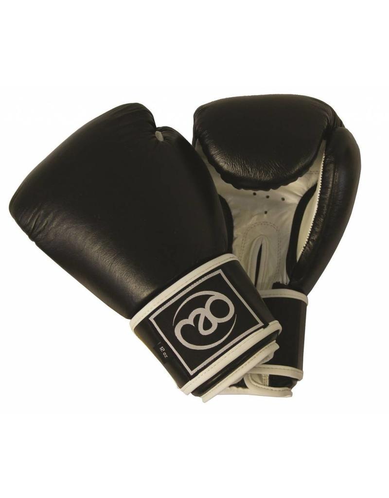 FITNESS MAD Leather sparring gloves Kick- Bokshandschoenen Leer 14oz Zwart Wit