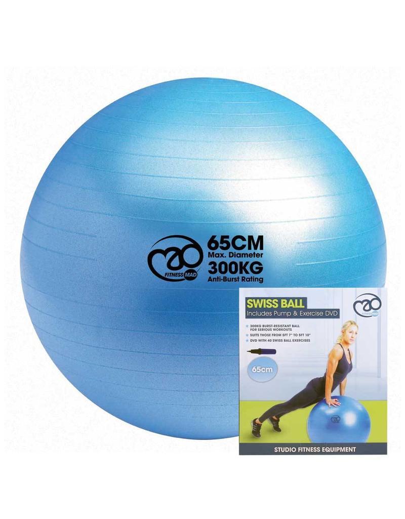 FITNESS MAD Swiss Ball 300kg 65 cm avec Pompe et DVD bleu clair