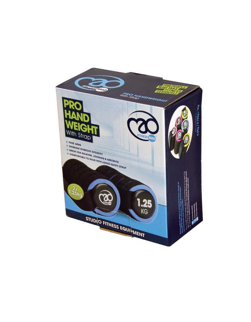 FITNESS MAD Pro Handweight Aerobic dumbbells pair 2.5 kg (2 x 1.25 kg) soft grip Black blue