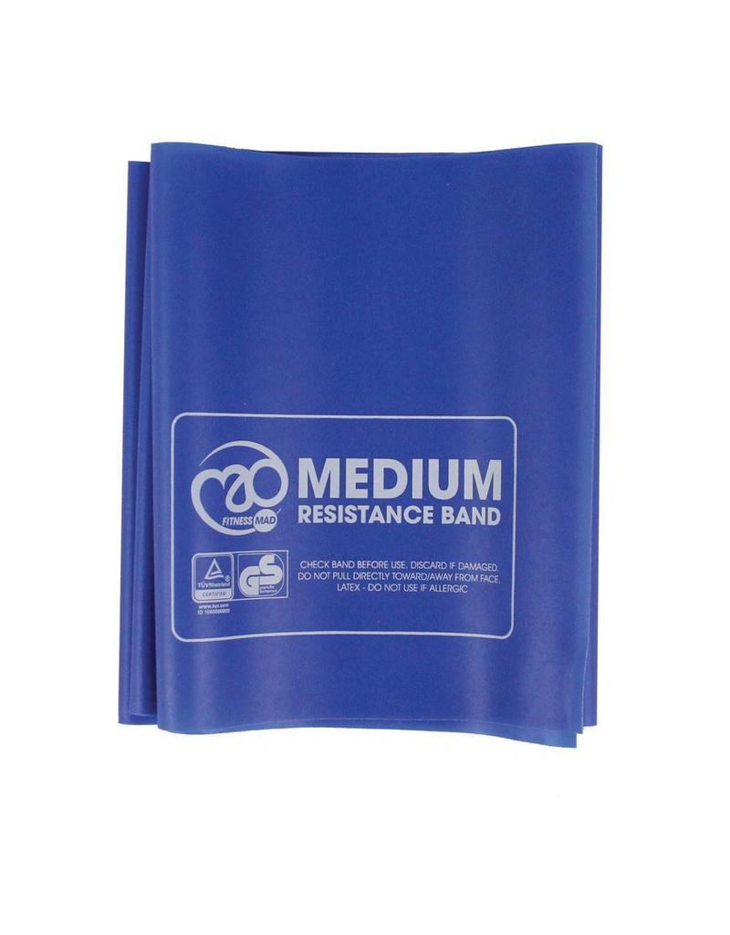 FITNESS MAD Bande de Résistance Medium avec instructions 150 x 15 cm Bleu