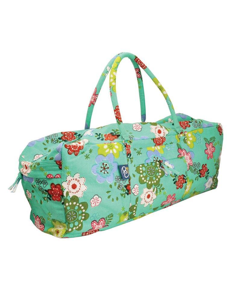 FITNESS MAD Kit Bag 62x22x22 cm 100% katoen Iyengar yoga Flower Power Groen