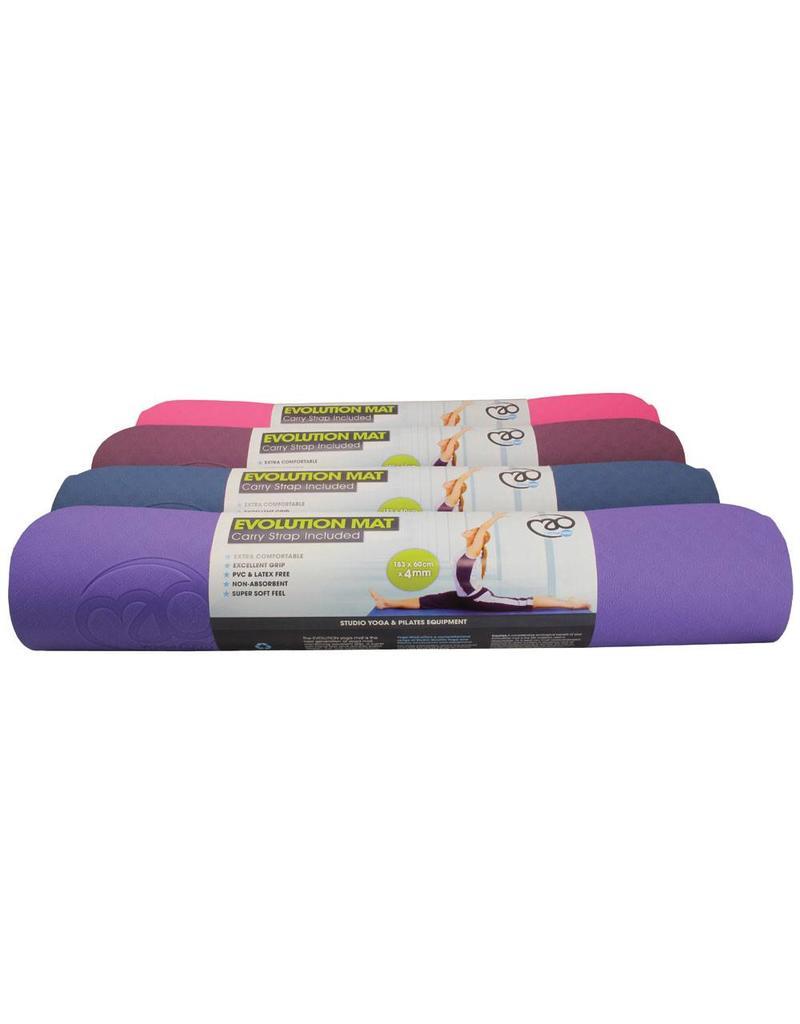 FITNESS MAD Evolution Yoga Mat 183 x 61 x 0.4 cm (1kg) super soft hygienisch TPE draagriem tweekleurig Aubergine Paars Grijs