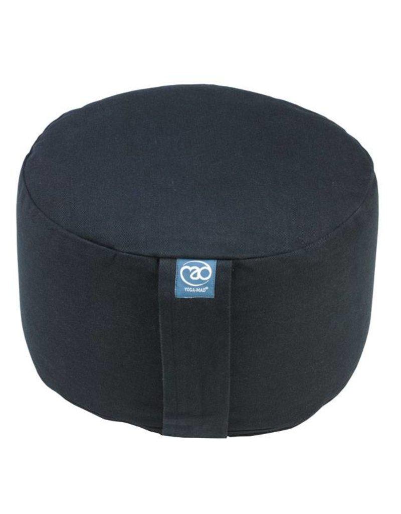 FITNESS MAD Round Large Meditation Cushion Large 100% katoen boekweitdop vulling 36x20 cm 3.5kg Zwart