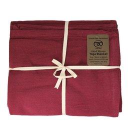 FITNESS MAD Cotton Yoga Blanket 150x200 cm 100% katoen hand geweven 1.5kg Bordeaux Rood