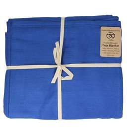 FITNESS MAD Cotton Yoga Blanket 150x200 cm 100% katoen hand geweven 1.5kg Blauw