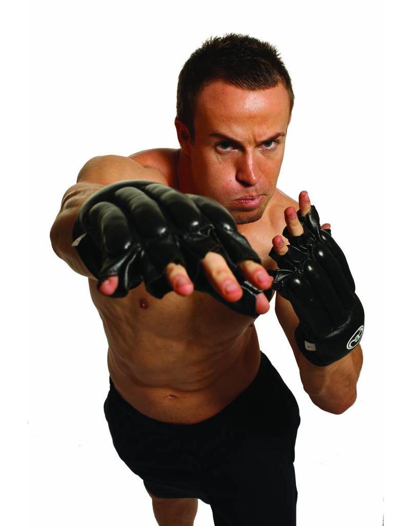 FITNESS MAD Gants de sac en cuir sans doigts Taille S (Small) Noir
