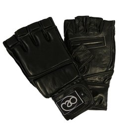 FITNESS MAD Pro Leather Free fight MMA Grappling Gloves maat L (Large) Zwart
