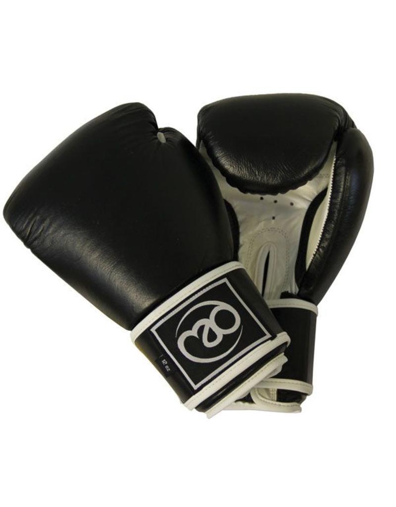 FITNESS MAD Leather sparring gloves Kick- Bokshandschoenen Leer 8oz Zwart Wit