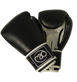 FITNESS MAD Leather Pro sparring gloves Kick 12oz Black white
