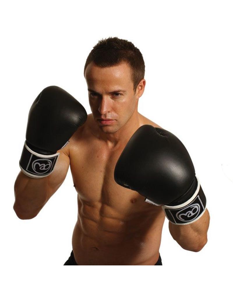 FITNESS MAD Gants de boxe Pro cuir 12oz Noir blanc