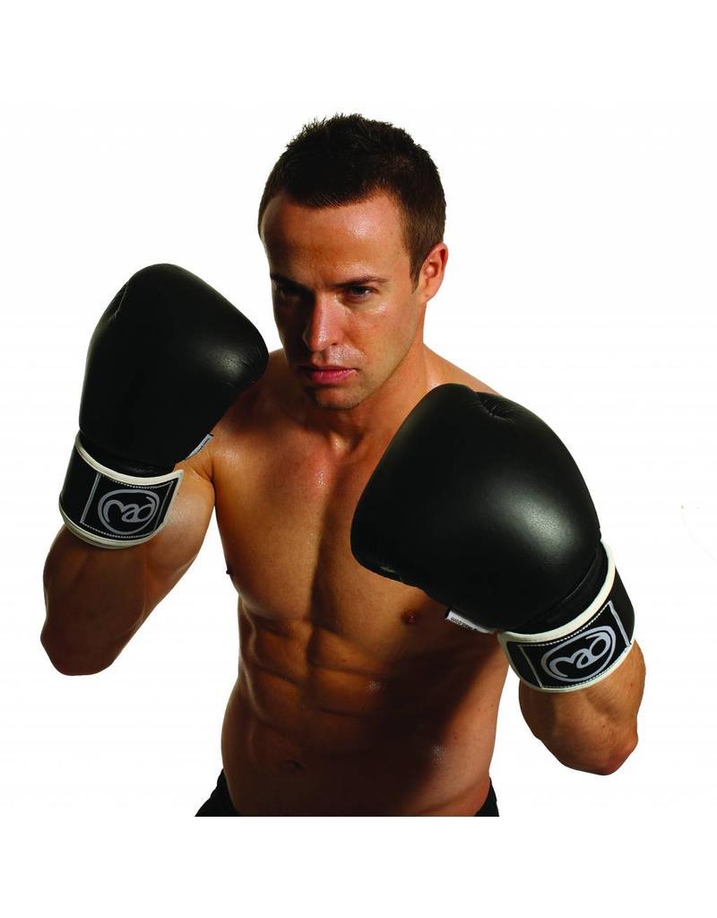 FITNESS MAD Synthetic Leather Sparring Gloves Kick- Bokshandschoenen Synthetish leer 10oz Zwart Wit