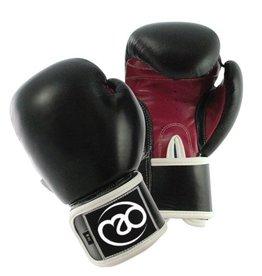 FITNESS MAD Women Leather Sparring Gloves Kick- Bokshandschoenen Leer 8oz Zwart Roze