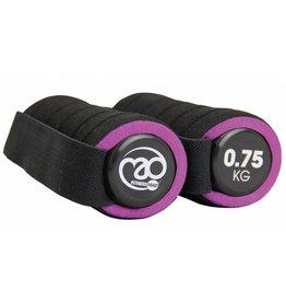 FITNESS MAD Pro Aerobic dumbbells paar 1.5 kg met handvat (2 x 0.75 kg) soft grip Zwart Paars