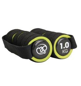 FITNESS MAD Pro Aerobic dumbbells paar 2 kg met handvat (2 x 1.0 kg) soft grip Zwart Groen