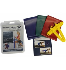 FITNESS MAD Resistance Band Set Gym 3 bands Light Medium Strong 150 x 10 cm + clips instructions Latex