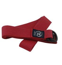 FITNESS MAD Yoga Belt 2m (38mm breed) 100% katoen D Ring Rood