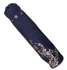 FITNESS MAD Wildflower Yoga Mat Bag Large 80 x 14.5cm 100% katoen draagtas met opbergvak voor matten tot 6 mm 183 x 80 cm Blauw