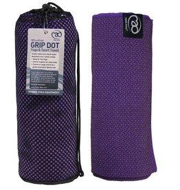 FITNESS MAD Grip Dot Yoga Mat Towel 183 x 60 cm (0.8kg) mat en handoek in 1 phthalate vrij ideaal voor studio of op reis Paars