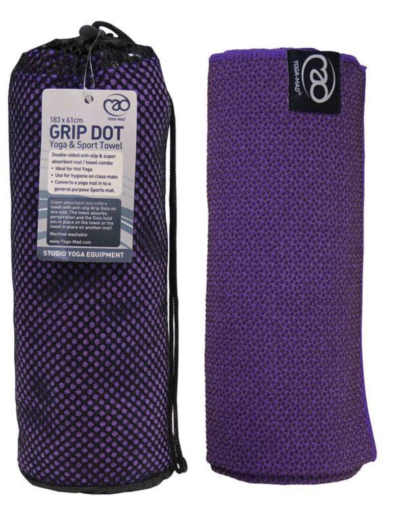 FITNESS MAD Grip Dot Yoga Mat Towel 183 x 60 cm (0.8kg) yoga mat handdoek met siliconen grip dots (phthalate vrij) ideaal voor studio of op reis Paars