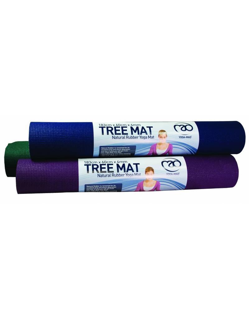 FITNESS MAD Natural Rubber Tree Yoga Mat 183 x 61 x 0.4 cm (2kg) super grip soft ecologische mat natuurlijk rubber en 100% katoen Aubergine Paars