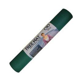 FITNESS MAD Natural Rubber Tree Yoga Mat Fitnessmat 4 mm 183 x 61 cm (2kg) natuurlijk rubber en 100% katoen Zwart Groen