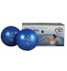 FITNESS MAD Balles lestées souple 2 x 1kg 12cm bleu