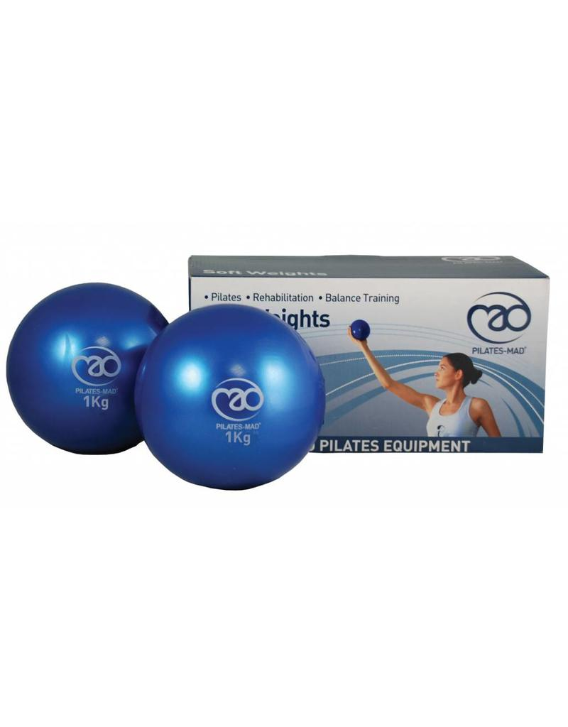 FITNESS MAD Soft Weights Yoga Pilates toning ball 2kg (2 x 1.0Kg) 12cm blue