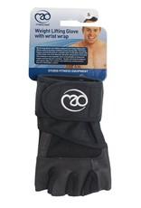 FITNESS MAD Weight Lifting Glove Pro wrist wrap leer Suede 5mm foam core wrap 50mm Maat M Zwart