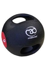 FITNESS MAD Medicine Ball Double grip uit een stuk gegoten Rubber 9kg Zwart