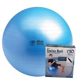 FITNESS MAD 300Kg anti-burst Swiss Gym Ball 55cm (1.1kg) including pump and DVD light blue