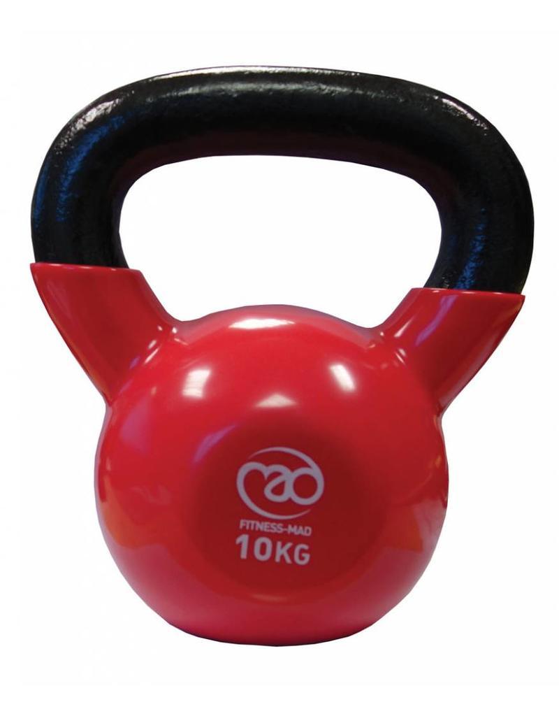 fitness mad gietijzeren kettlebell met vinyl coating (10 kg) licht roodGietijzeren Kettlebells #21