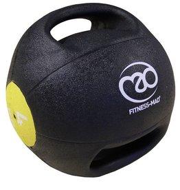 FITNESS MAD Medicine Ball Double grip uit 1 stuk gegoten Rubber 4kg Zwart