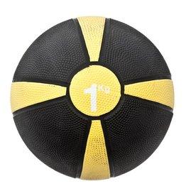 FITNESS MAD Medicine Ball Rubber Waterproof 1 Kg (19.5cm) Zwart Geel