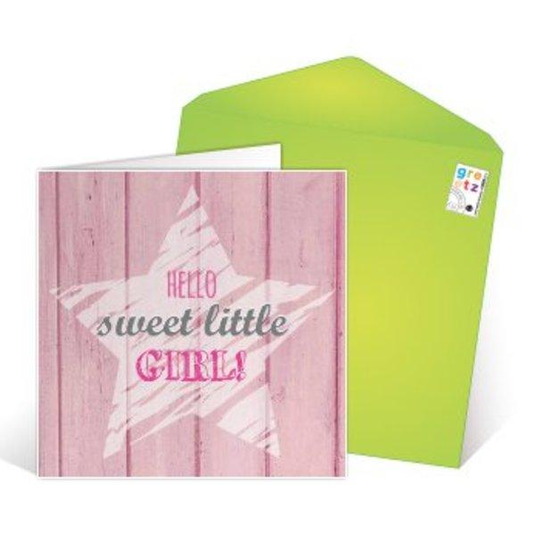 Grußkarte 'Hello sweet little girl'