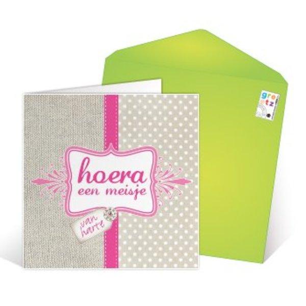 Greeting Card 'Hoera een meisje'
