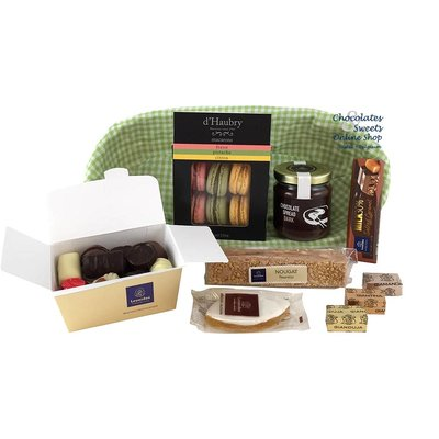 Gift basket with chocolates and delicacies