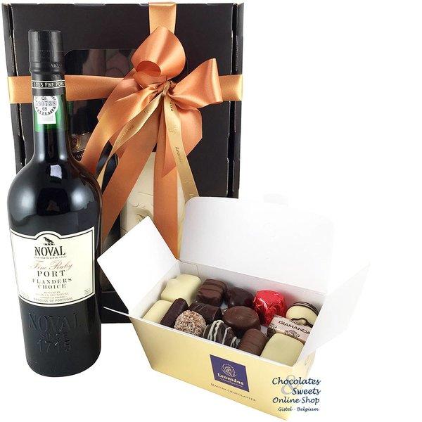 500g Leonidas Chocolates and red Port