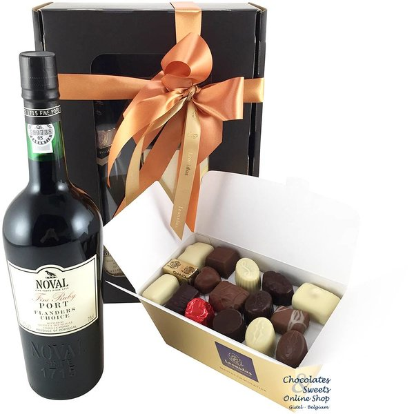 750g Leonidas Chocolates and red Port
